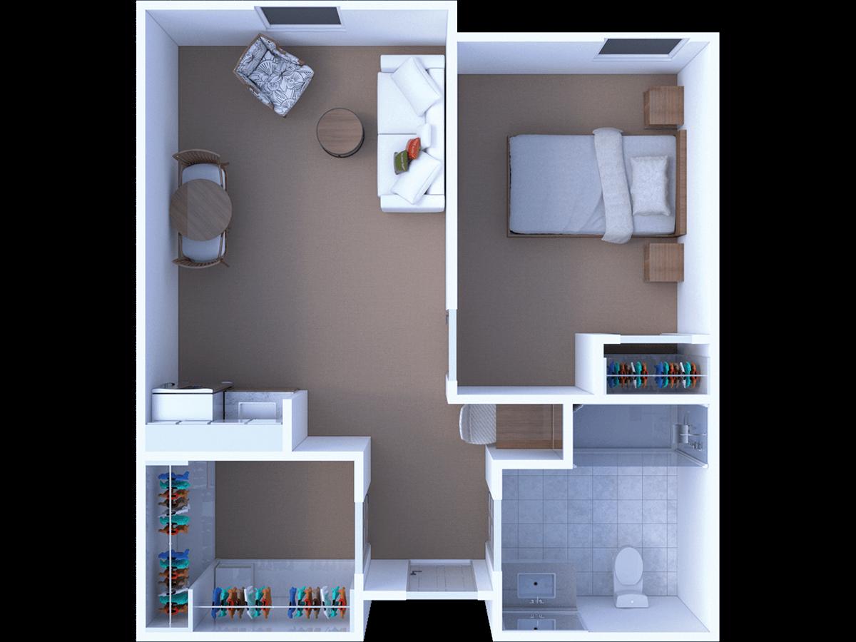 Assisted Living 1 Bedroom Floor Plan