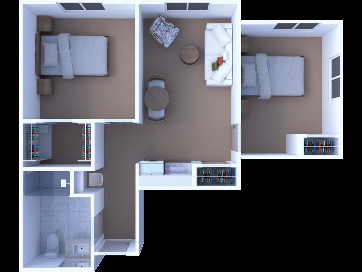 Assisted Living 2 Bedroom Floor Plan