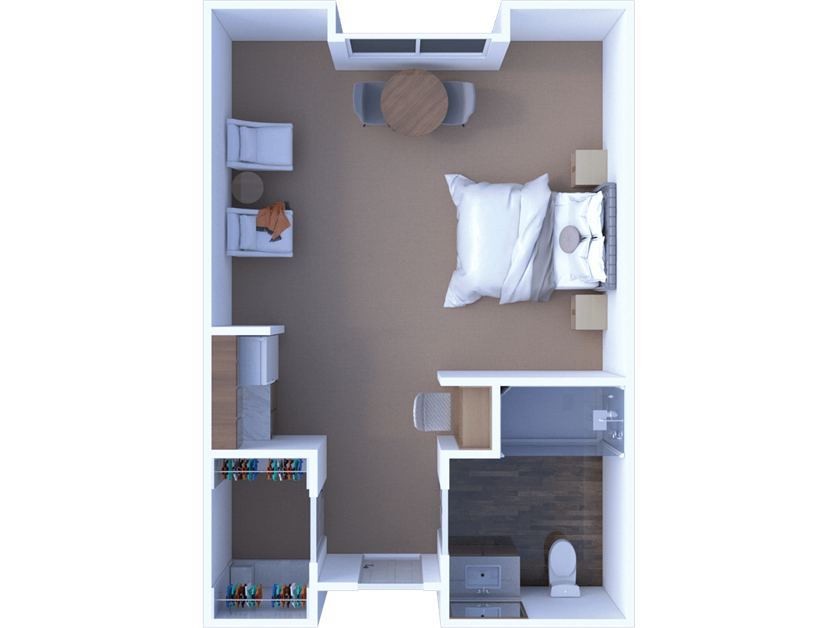 Assisted Living Studio Alcove Floor Plan