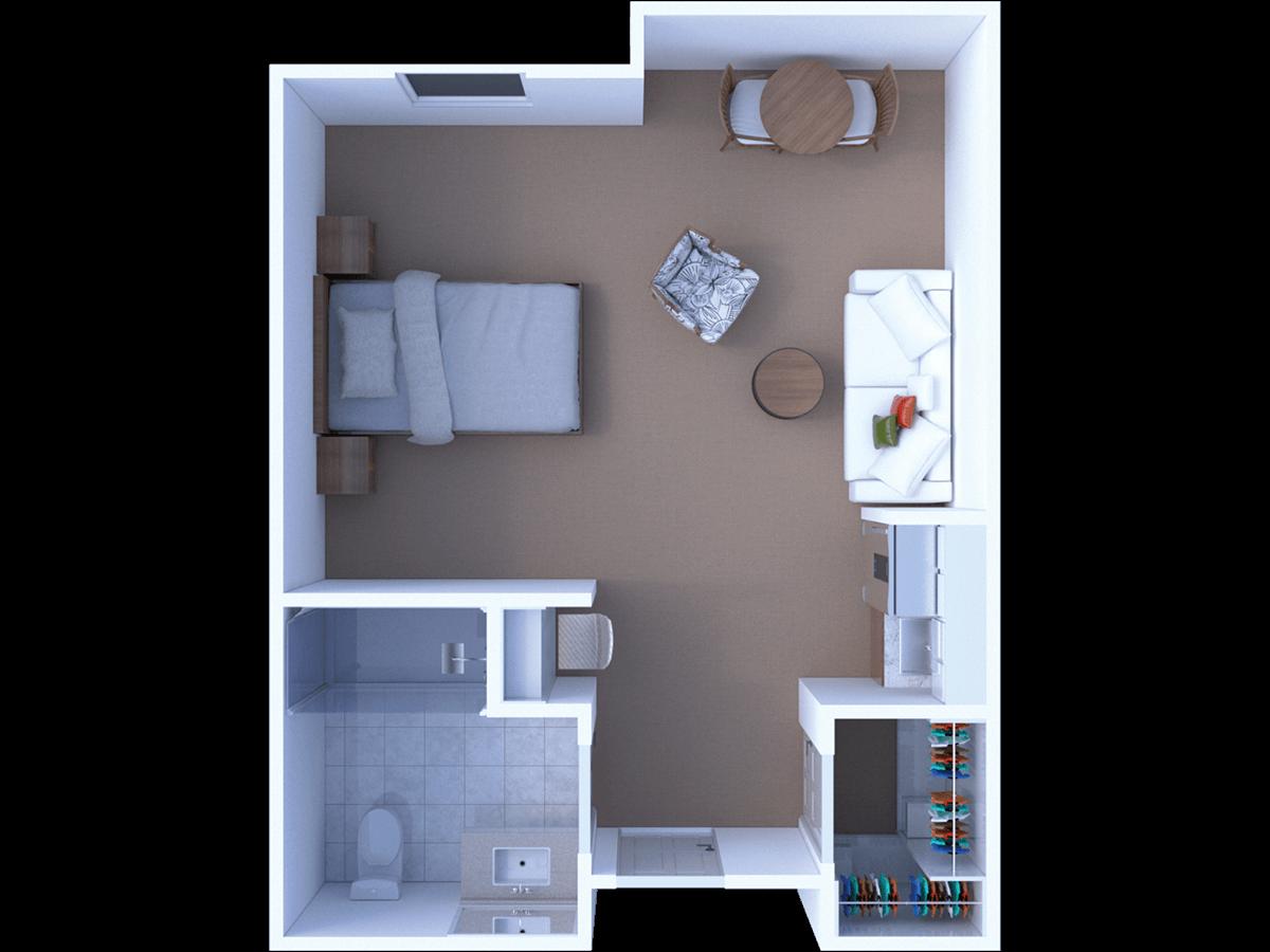 Assisted Living Studio Floor Plan