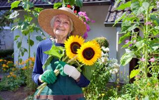 Senior woman smiling wearing hat outside holding sunflowers while gardening