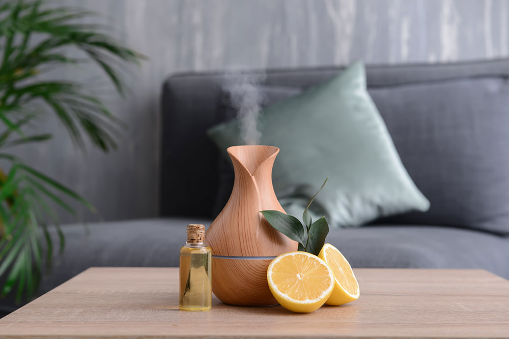 Essential oil diffuser sitting on table in living room